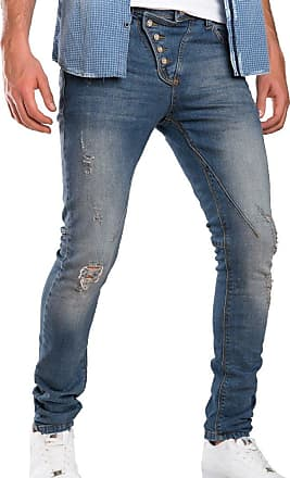 Red Bridge Red Bridge - Classic Front Button Denim Pant, Thin and Shredded for Men - Blue