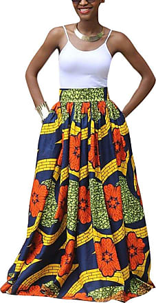 Hellomiko Huateng Womens African Floral Print Casual A-Line Maxi Skirt Flared Skirt Multisize Convertible Traditional Wax Print Adjustable Strap Maxi Skirt Dres