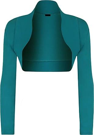 Momo & Ayat Fashions Ladies Long Sleeve Jersey Shrug Bolero Cardigan Top UK Size 8-14 (M/L (UK 12-14), Teal)