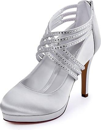 Elegantpark EP11085-PF Wedding Shoes for Women Platform Heels Closed Toe High Heels Shoes Cross Strap Rhinestones Satin Evening Party Shoes Silver UK 5