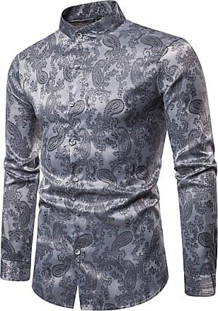 Whatlees Mens Vintage Long Sleeve Paisley Symmetric Design Dress Shirts Button Down Silver 02010200XSilver+L