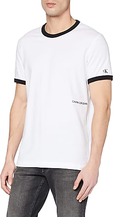 Calvin Klein Jeans Mens Contrasted Ringer REG FIT TEE T-Shirt, White (Bright White/Black Yaf), X-Large (Size:XL)