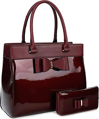 LeahWard Womens Large Bow Or Belt Bag Two In One Handbag With Matching Purse (Burgundy Set)