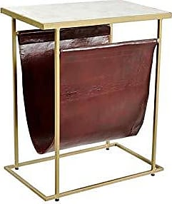 Coaster Fine Furniture Scott Living 930105 Rectangular Accent Table with Pouch, White/Gold