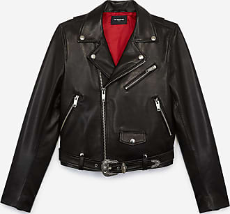 The Kooples Black leather jacket with belt, western - WOMEN