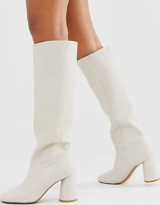 & Other Stories tall leather boots with round heels in off white
