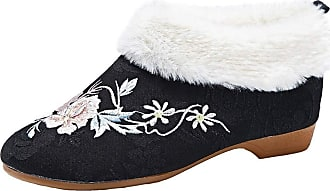ICEGREY Womens Embroidered Shoes Fleece Lined Chinese Style Loafer Flats Black Flower 7.5