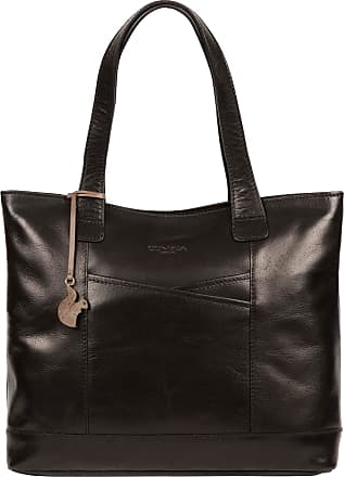Pure Luxuries London Concka London Patience Womens 36cm Biodegradable Leather Tote Bag with Zip Over Top, 100% Cotton Lining and Matching Leather Handles in Black B181