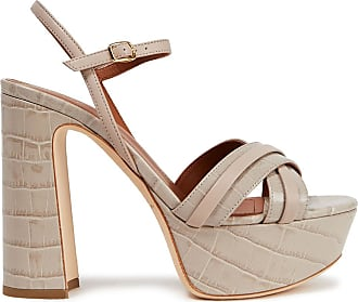 Malone Souliers Malone Souliers Woman Mila 125 Smooth And Croc-effect Leather Platform Sandals Stone Size 38.5