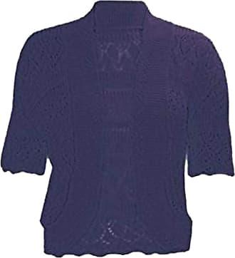 21Fashion Ladies Fancy Crochet Knitted Bolero Shrug Cardigan Womens Short Sleeve Crop Top Navy 2X Large