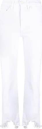 3x1 cropped frayed-hem jeans - White