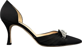 985d28a38781 Manolo Blahnik Size 10.5 Black Silk Rhinestone Pointed Toe Dorsay Pumps