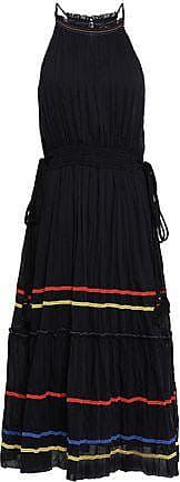 Joie Joie Woman Gathered Cotton And Silk-blend Mousseline Midi Dress Black Size XXS