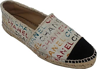 32b9c3c8582a Chanel Black And Cream With Multi-colored Print Flat Espadrilles - 41