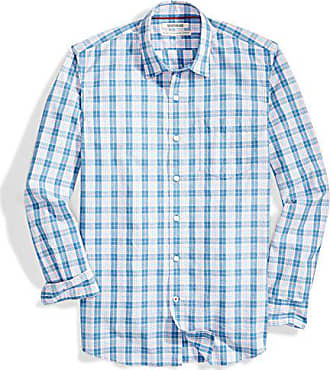 Goodthreads Mens Standard-Fit Long-Sleeve Plaid Poplin Shirt, Pink/Blue, Medium