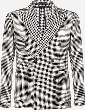 Tagliatore Darrel double-breasted houndstooth linen and cotton blazer - TAGLIATORE - man