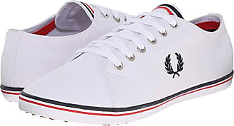 Fred Perry Kingston Twill (Navy/White/Bright Red) Mens Lace up casual Shoes