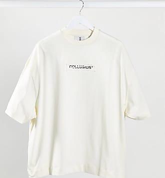 Collusion Unisex - Oversized-T-Shirt mit Logoaufnäher in Elfenbein-Weiß