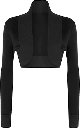 The Celebrity Fashion Ladies Cotton Long Sleeve Cropped Boleros Shrugs Womens Cardigans Jumpers Top Black