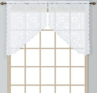 Blue 54 by 38 United Curtain Dorothy Window Curtain Swiss Dot Kitchen Swag