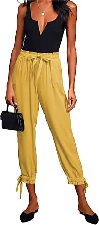 QIYUN.Z Women Harem Pants Wide Leg Pants Female Trousers Casual Spring Summer Loose Pants Yellow M