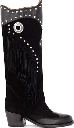 Via Roma 15 Boot in Suede and Black Leather with Fringes