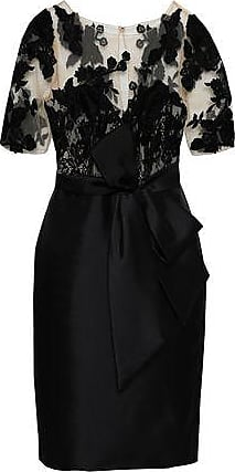 Badgley Mischka Badgley Mischka Woman Bow-detailed Embroidered Tulle And Satin-twill Dress Black Size 2
