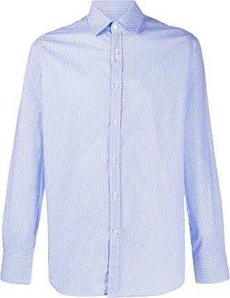 Canali Camisa com estampa micro de cerejas - Azul