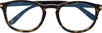 Cartier Armação de óculos quadrada com efeito tartaruga - Marrom
