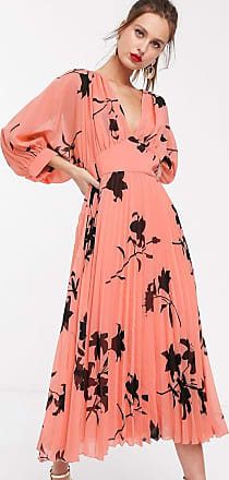 Asos pleated batwing midi dress in pink floral