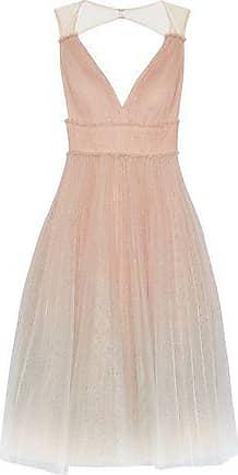 08d918a60c Marchesa Marchesa Notte Woman Pleated Glittered Dégradé Tulle Midi Dress  Blush Size 12
