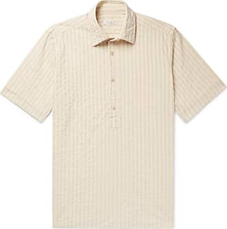 Incotex Striped Cotton And Linen-blend Half-placket Shirt - Beige