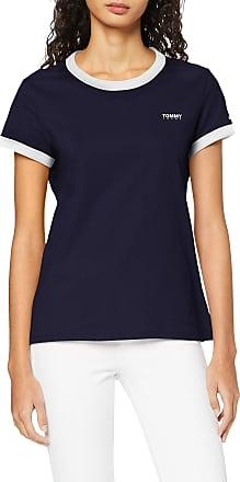 Tommy Jeans Womens TJW Logo Ringer TEE T-Shirt, Blue (Twilight Navy C), 12 (Size:L)