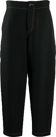 Uma Wang tapered contrast-stitch trousers - Black