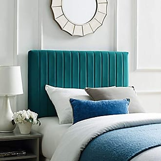 ModWay Keira Channel Tufted Performance Velvet Upholstered Twin Headboard in Teal