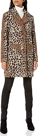 French Connection Womens Leopard Notch Collar Sherpa Coat Faux Fur, S