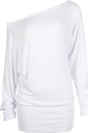 Crazy Girls Womens Long Sleeve Off Shoulder Plain Batwing Top - White - Medium/Large-12/14