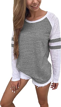 Yoins Women Long Sleeve Tshirts Ladies Jumpers Baseball Tops Round Neck Striped Pullover, A-grey, XXL