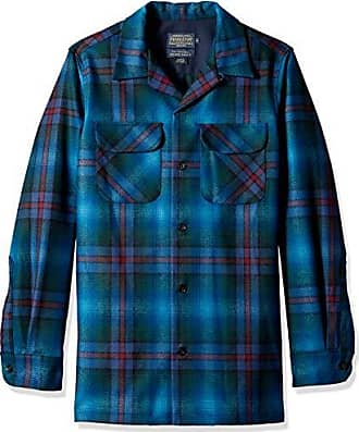 Pendleton Mens Fitted Long Sleeve Board Shirt, Blue Ombre, LG