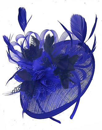 Caprilite Royal Blue and Navy Blue Sinamay Disc Saucer Fascinator Hat for Women Weddings Headband