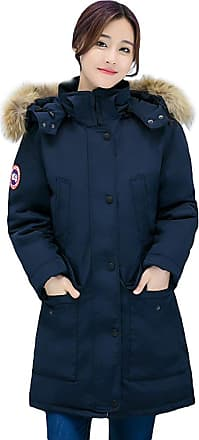 YOUJIA Women Warm Winter Parka Mid Length Military Faux Fur Hooded Jacket Coat Overcoat (Navy, Asia 2XL)