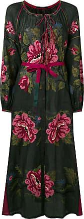 Vita Kin Vestido longo com botão e estampa de rosa - Preto
