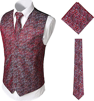 Whatlees Mens Classic Paisley Floral Jacquard Vest & Tie and Pocket Square Vest Suit Set BA0213-Red-XL