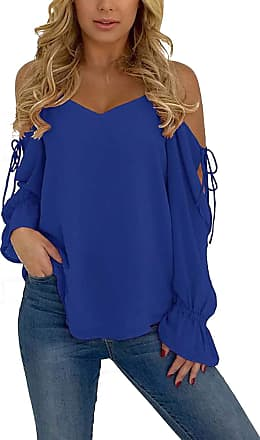 Yoins Womens Casual Blouses V-Neck Cold Shoulder Long Sleeve Tops Lace-up Chiffon Loose Ladies Shirts Dark Blue UK 6-8
