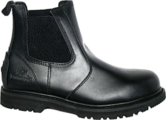 Groundwork MENS WORK BOOTS, MENS SAFETY BOOTS, GR20 TWIN GUSSET DEALER BOOT BY GROUNDWORK (UK10, black leather)