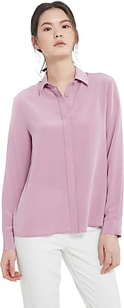 LilySilk Silk Dress Shirts for Women Sandwashed Natural Mulberry Silk Long Sleeve-Pale Lilac-M