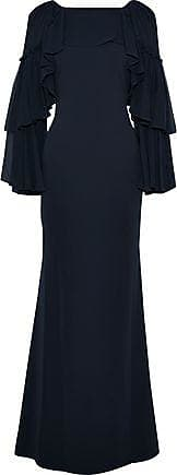 Badgley Mischka Badgley Mischka Woman Tiered Paneled Cady And Chiffon Gown Navy Size 0