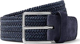 Loro Piana 4.5cm Navy Suede-trimmed Woven-linen Belt - Navy