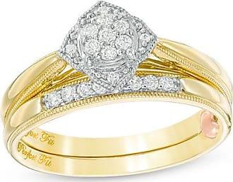 Zales 1/6 CT. T.w. Composite Diamond Flower Vintage-Style Interlocking Bridal Set in 10K Gold