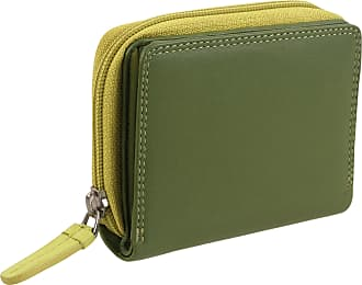 Visconti Ladies Compact Leather Purse/Wallet Gift Boxed Bright Colours (Shades of Lime)